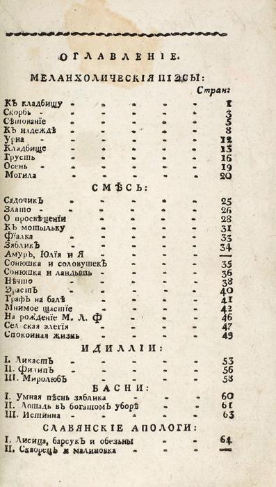 [Коптев, А.А.] Подарок милым сестрам. Вар. Але. Шул.иВар. Але. Каф.вдень ихименин. М.: ВТип. С.Селивановского, 1807.
