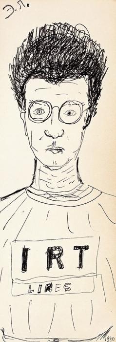 [Изархива семьи Бахчанян] Лимонов, Э.Автопортрет. Оригинальный рисунок. [Франция], 1981.