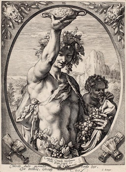 Гольциус Хендрик (Hendrik Goltzius) (1558–1617) «Бахус». Лист №1изсерии «Бахус, Венера, Купидон иЦерера (Bacchus, Venus and Cupid and Ceres)». 1595. Бумага, резец, 29,3x21,8см (лист), 25x18,3см (оттиск).