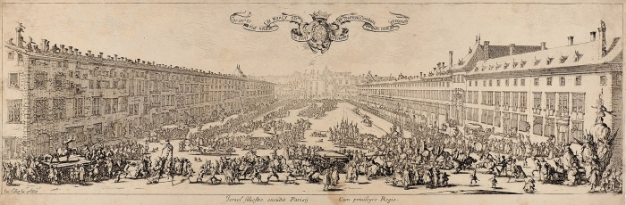 Жак Калло (Jacques Callot) (1592–1635) «Новая улица Нанси (LaCarrière deNancy, ouLaRevue Neuve deNancy)». 1630. Бумага, офорт, 17,3x51см (лист обрезан).