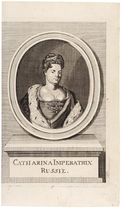 Неизвестный гравер «Екатерина I». 1750. Бумага, резец, 35,2x20,3см (лист обрезан).