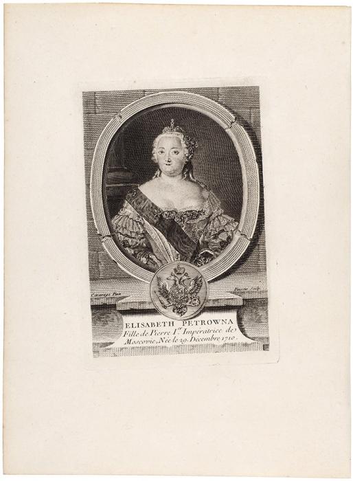 Пинсио сживописного оригинала Каравака Луи (Caravaque Louis) (1684–1754) «Елизавета Петровна». Лист изиздания «Odieuvre. L'Europe illustre». 1777. Бумага, резец, 25,5x18,8см (лист), 15,5x10,5см (оттиск).