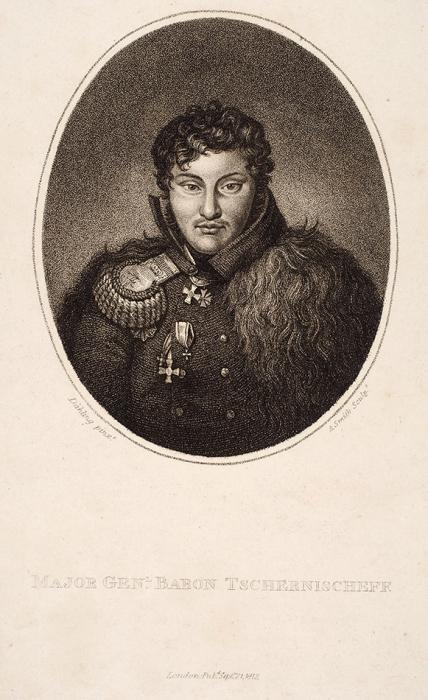 Смит Анкер (1759-1819) соригинала Делинга Генриха Антона (Heinrich Anton Dähling) (1773-1850) «Портрет А.И. Чернышева». 1813. Бумага, пунктир, 25,5x18,5см (лист), 24,5x18см (оттиск).