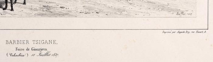 Раффе Огюст (Raffet Denis-Auguste-Marie) (1804–1860) «Цыганский цирюльник». Лист из«Альбома кпутешествию вЮжную Россию иКрым через Венгрию, Валахию иМолдавию, совершенному в1837 году Анатолием Демидовым». 1840-е. Бумага, литография, 35x54см (лист), 19,8x29см (оттиск).