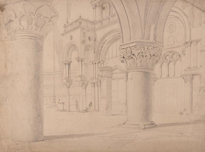 Клагес Федор Андреевич (1812 (1814)— 1890 (1900)) «Итальянский вид». Вторая четверть XIXвека. Бумага, графитный карандаш, 22,8x30,9см.
