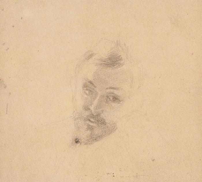 Попова (Капустина) Августа Степановна (1863–1941) «Портрет художника Валентина Серова». 1890-е. Бумага, графитный карандаш, 11x12,2см.