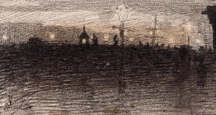 [Собрание П.Е. Корнилова] Киплик Дмитрий Иосифович (1865–1942) «Порт ночью». 1900-е. Бумага, итальянский карандаш, акварель, 7,6x14см.