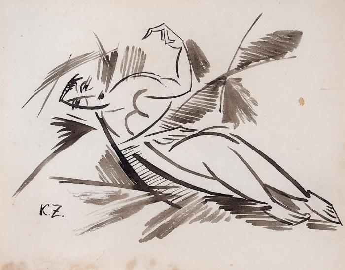 [Собрание наследников художника] Зданевич Кирилл Михайлович (1892–1969) «Лежащая обнаженная». 1910-е. Бумага, тушь, кисть, 24,5x29см.