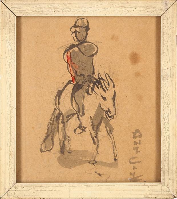 Бурлюк Давид Давидович (1882–1967) «Всадник». Первая четвертьХХ века. Бумага, акварель, 13,4x11,5см (всвету).
