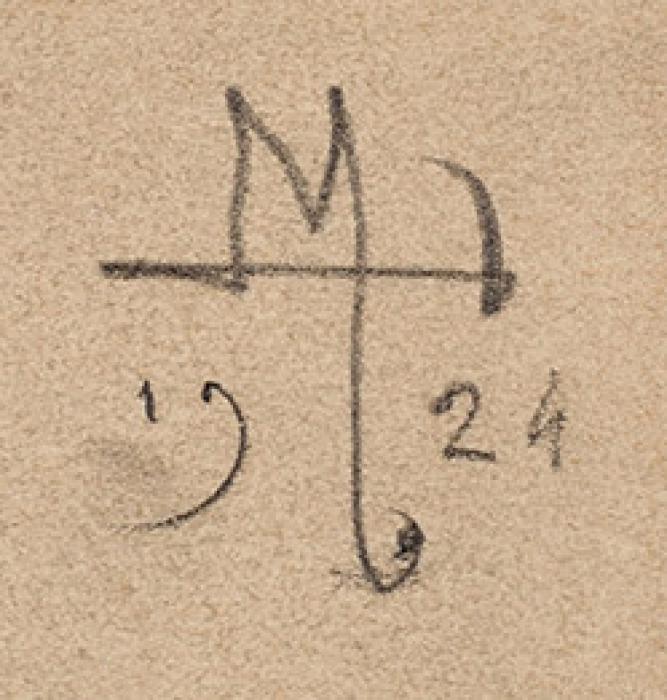 Тарханов Михаил Михайлович (1888–1962) «Натурщик». 1924. Картон, графитный карандаш, 28,5x21,2см.