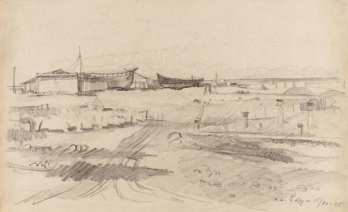Шевченко Александр Васильевич (1883–1948) «Батум». 1925. Бумага, графитный карандаш, 22,5x37см.