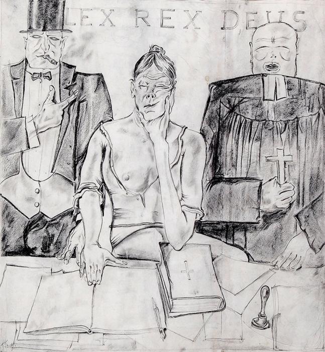 [Собрание наследников] Гольц Георгий Павлович (1893–1946) «LEX REX DEUS». Изсерии «Капиталистический мир». 1925-1926. Бумага, итальянский карандаш, 33x30,5см (всвету).