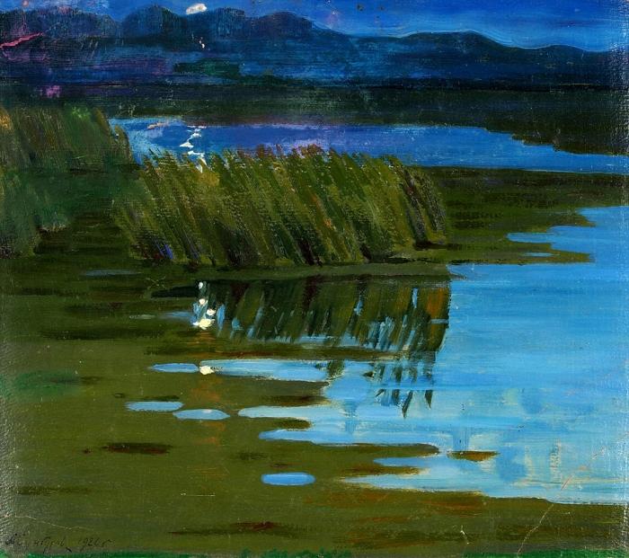 Сунгуров Антонин (Анатолий) Иванович (1894—1976(82)) «Полночной порою». 1926. Картон, масло, 35,5x37см.