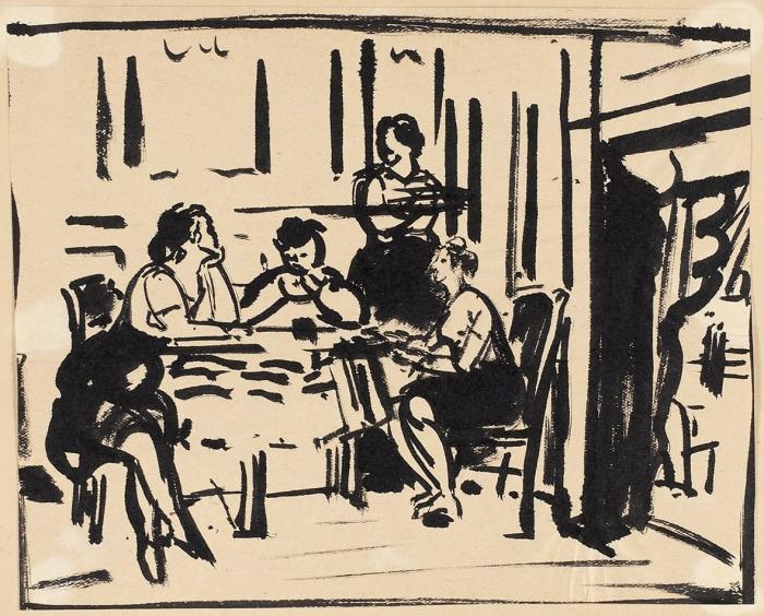 Никритин Соломон Борисович (1898–1965) «Забеседой». 1920-е. Бумага, черная акварель, 19x30,2см.