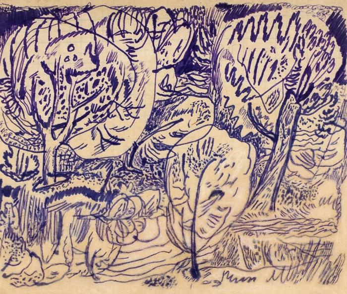 Сулимо-Самуйлло Всеволод Ангелович (1903–1965) «Пейзаж». 1930. Бумага, чернила, 14x16,7см.