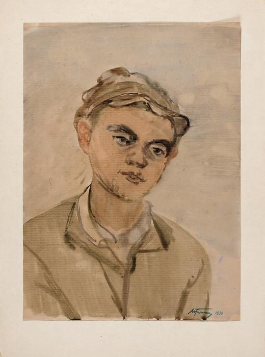Горшман Михаим Ефимович (Мандель Хаимович) (1902–1972) «Колхозный паренек». 1930. Бумага, акварель, 43x32см.