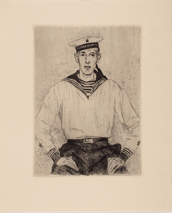 Верейский Георгий Семенович (1886–1962) «Моряк. Портрет сына». 1930-е. Бумага, офорт, 32x26,5см (лист), 22,5x17см (оттиск).