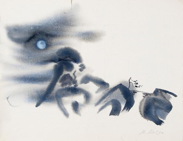 Митурич Май Петрович (1925–2008) «Японский мотив». 1970-е. Бумага, акварель, белила, 38x48см.