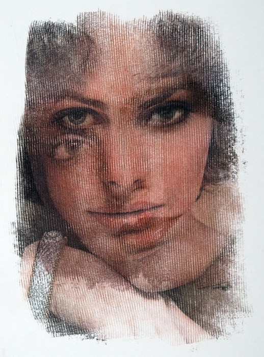 [Собрание семьи художника] Бахчанян Вагрич Акопович (1938–2009) «Лицо». 1970-е. Бумага, авторская техника, 60,8x48см.
