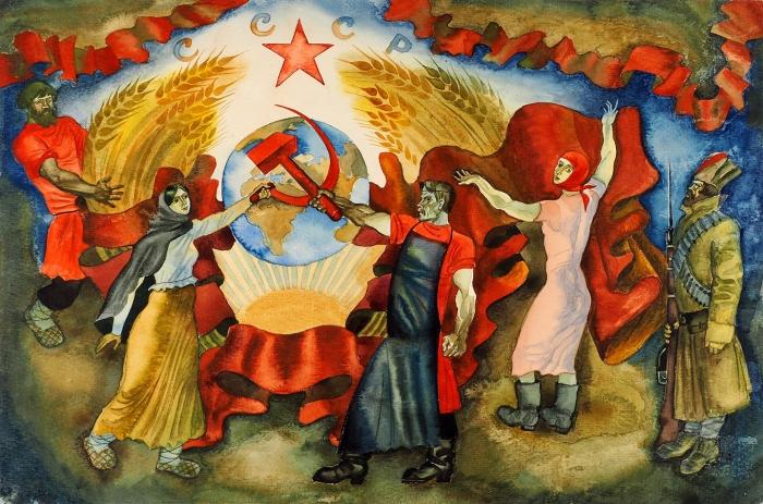 [Собрание семьи художника] Непомнящий Леонид Михайлович (род.1939) «СССР». 1970-е. Бумага, графитный карандаш, акварель, 19,2x44см.