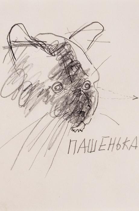 [Собрание семьи Бахчанян] Герловина Римма Анатольевна (род.1951) «Пашенька». 1980. Бумага, графитный карандаш, 12,4x8,2см.