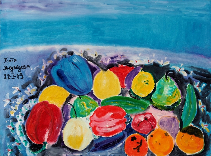 Медведева Катя (род.1937) «Натюрморт». 2009. Холст, масло, 84x62см.