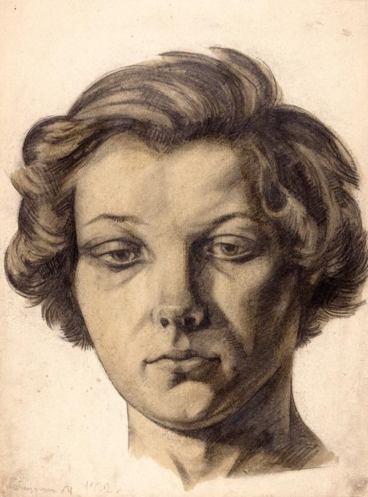 Богородский Фёдор Семёнович (1895–1959) «Натурщица №4». 1922. Бумага, графитный карандаш, лак, 35x26см.