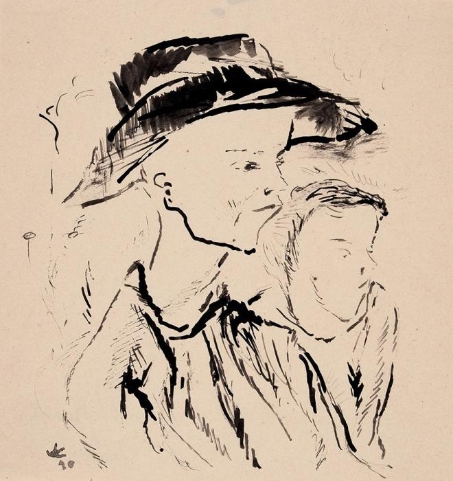 Софронова Антонина Федоровна (1892–1966) «Беспризорники». 1920-е. Бумага, тушь, кисть, 18,2x17,3см.