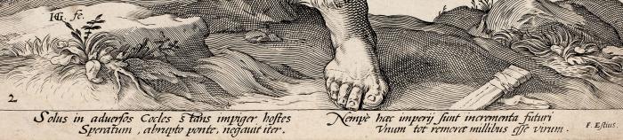 Гольциус Хендрик (Hendrik Goltzius) (1558–1617) «Гораций Коклес (Horatius Cocles)». Лист изсерии «Римские герои». 1586. Бумага, резец, 38,5x25,7см (лист обрезан).