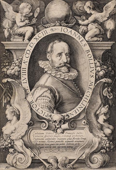 Гольциус Хендрик (Hendrik Goltzius) (1558–1617) «Портрет художника Ханса Бола». Конец XVIвека. Бумага, резец, 26,2x18см (лист обрезан).