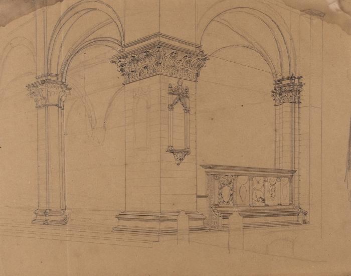 Клагес Федор Андреевич (1812 (1814)— 1890 (1900)) «Интерьер. Италия». Вторая четверть XIXвека. Бумага, графитный карандаш, 24,3x30,7см.