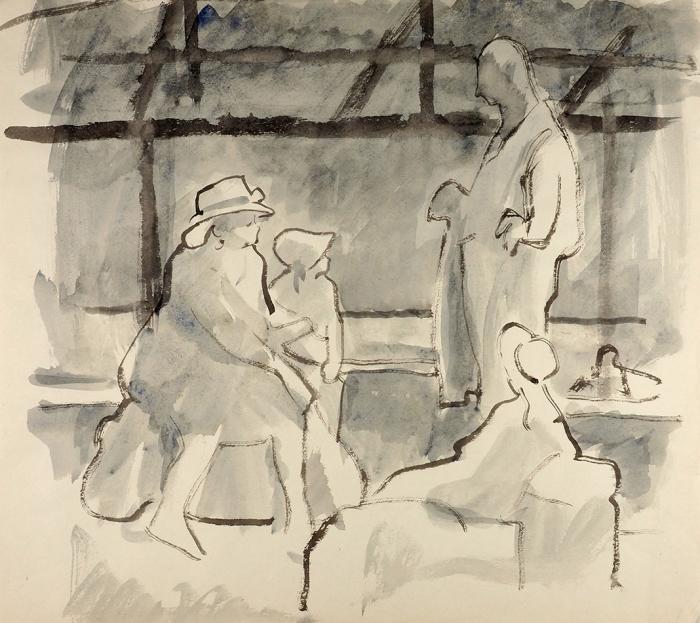 Сойфертис Леонид Владимирович (1911–1996) «Вожидании вылета». 1960-е. Бумага, акварель, 43,7x48,5см.