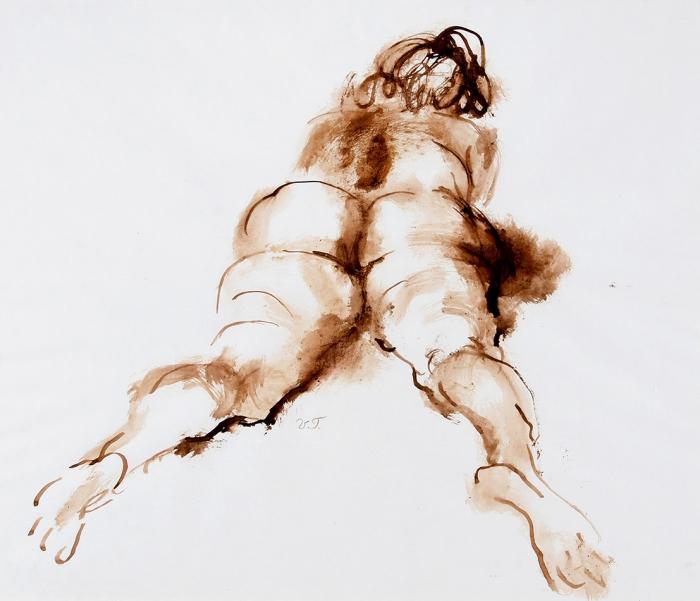 Титов Владимир (род.1950) «Модель». 2000-е. Бумага, акварель, 48,5x57,5см.