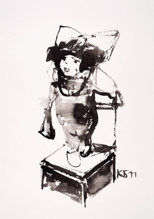 Батынков Константин Александрович (род.1959) «Девочка». 2011. Бумага, тушь, кисть, 41,8x29,7см.