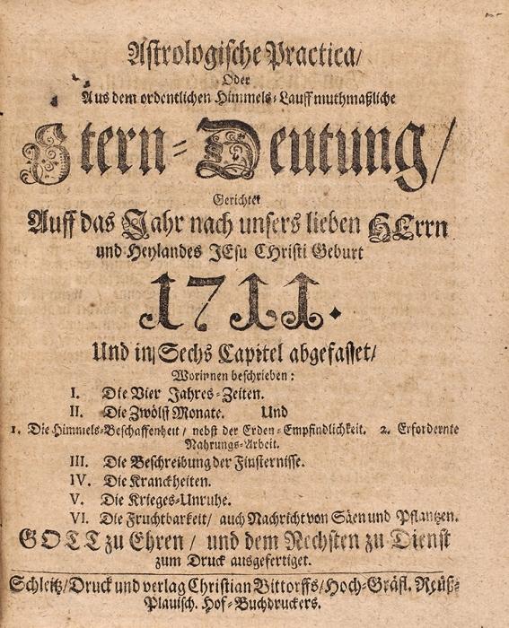 Конволют из6-ти восточно-немецких календарей на1711г. [Нанемяз.]. Германия, 1711.