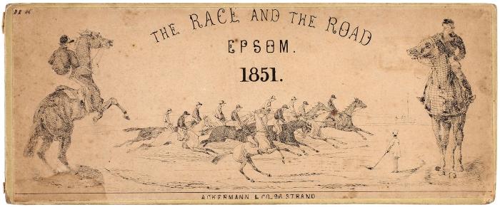 [Гравированная панорама] Гонка идорога вЭпсоме. [The race and the road Epsom. Наангл.яз.]. Англия: Ackermann, 1851.