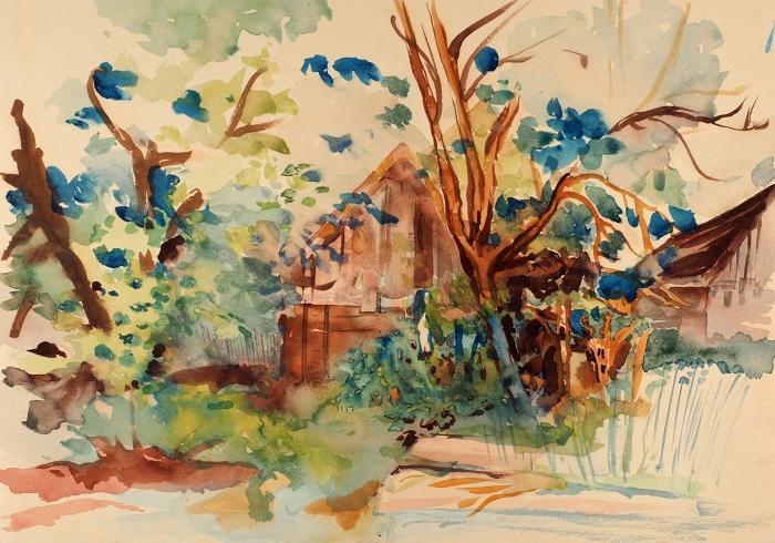 Тарханов Михаил Михайлович (1888–1962) «Всаду Евлампии Сергеевны». 1936. Бумага, акварель, 29,8x42,5см.