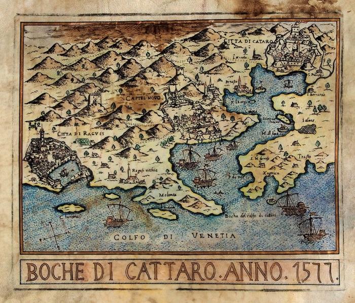 Карта-портулан Которского залива. [Boche diCattaro. Наит.яз.]. 1577.