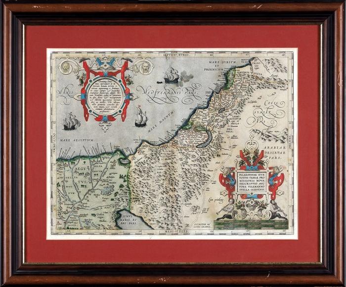 Карта Палестины Абрахама Ортелиуса. [Palestinae Sive Totius Terrae Promissionis Nova Descriptio Auctore Tilemanno Stella Sigenensi. Налатыни]. [Конец XVI— начало XVII].