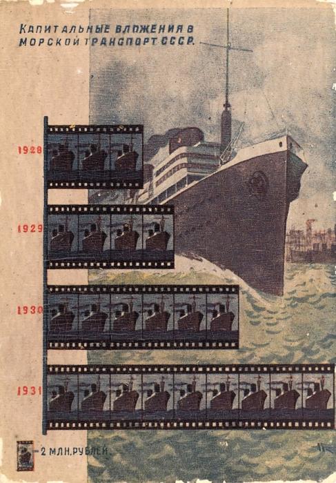 [Догнать иперегнать] Почтовая карточка «Капитальные вложения вморской транспорт СССР». Л.: Изогиз, [1931].