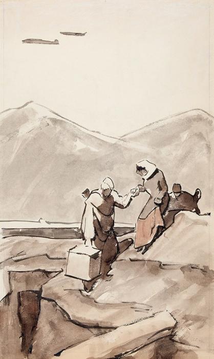 Сойфертис Леонид Владимирович (1911–1996) «Артисты приехали». 1943. Бумага, акварель, 60x36,5см.