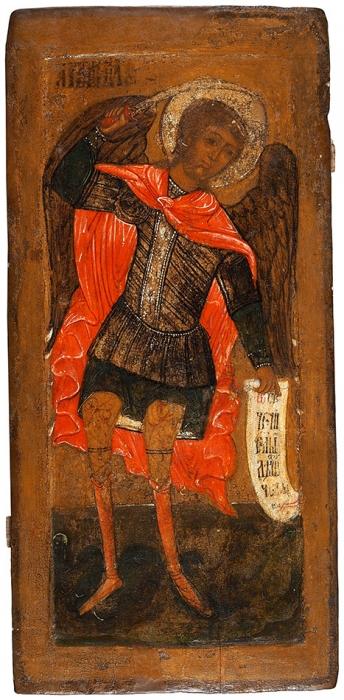 [Царь Михаил Романов был крещен воимя Архистратига Небесного Воинства Михаила] Икона «Архангел Михаил, попирающий дьявола». Северный регион России, первая треть XVIIIвека.