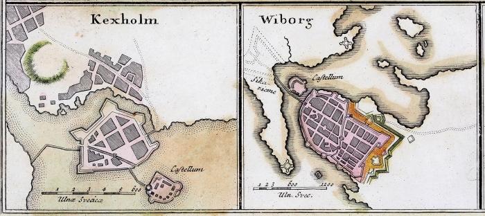 Гравированый план Кроншлота (Кронштадта). [Нюрнберг], 1750.