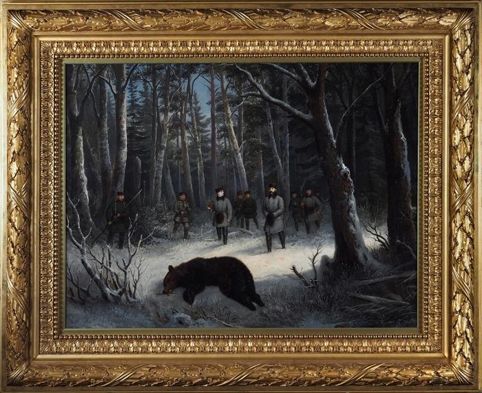 Тейхель Франц. Император Александр IIна медвежьей охоте. Третья четверть XIXвека.