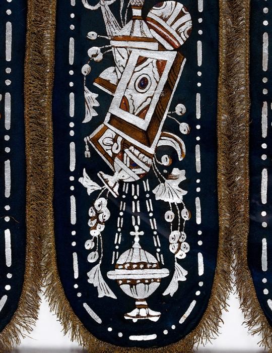 [Уникальный предмет] Хоругвь «Впамять чудесного спасения царской семьи при крушении поезда 17октября 1888г.». [Б.м., 1888-1889].