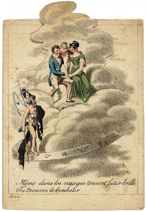 Две гравированные картинки-трансформер издвух разных «галантных» гадательных наборов карт. [Франция, Германия, сер. XIX].