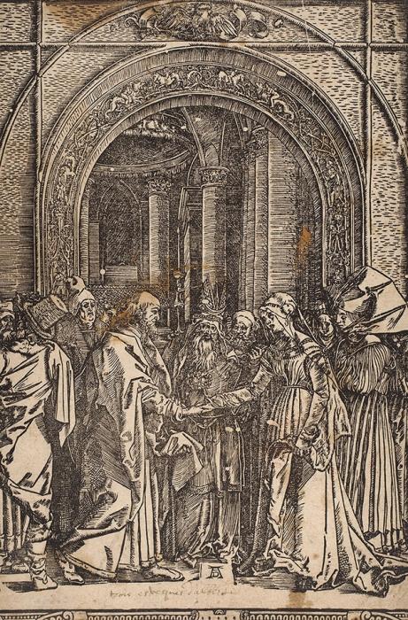 Дюрер Альбрехт (Albrecht Durer) (1471–1528) «Обручение Марии». Лист №6изсерии «Жизнь Марии». 1504 (повсей вероятности, оттиск XVIвека). Бумага, ксилография, 30x20,3см (лист обрезан).