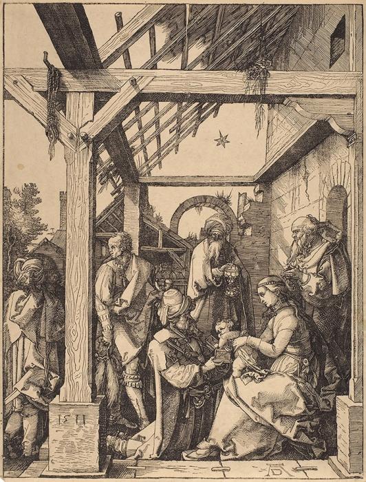 Дюрер Альбрехт (Albrecht Durer) (1471–1528) «Поклонение волхвов». 1511 (оттиск конца XVIII— XIXвеков). Бумага, ксилография, 29,6x22,5см (лист обрезан).