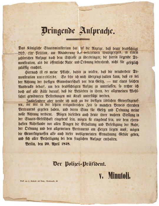 Листовка-плакат Германской революции 1848года: Срочное объявление [] начальника полиции фон Минутоли. [Dringende Ansprache ... Der Polizei-Präsident v. Minutoli. Нанем.яз.] Berlin, 20. April 1848.